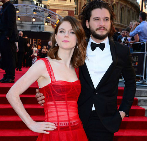 Video: Game of Thrones couple Kit Harington and Rose Leslie put on an amorous display at the 2017 Olivier Awards