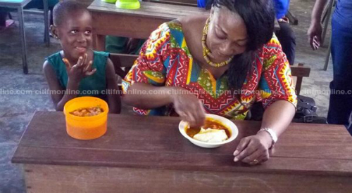 Otiko Djaba Dines With Students Of Adaklu School [Photos]