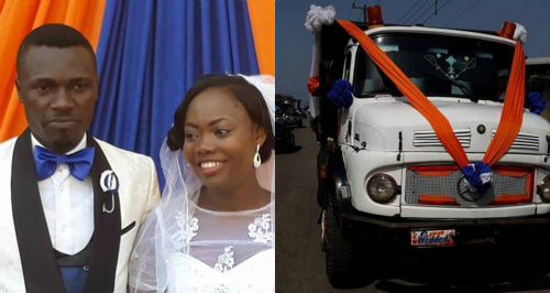 Photos: Newly wed Couple Transport Themselves To Wedding Reception In Tipper
